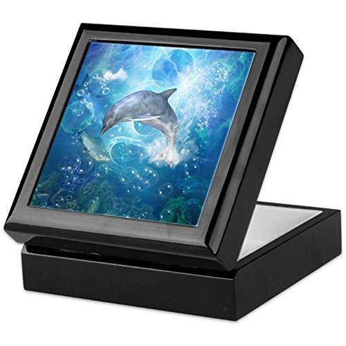 CafePress - Wonderful Dolphin - Keepsake Box, Finished Hardwood Jewelry Box, Velvet Lined Memento Box