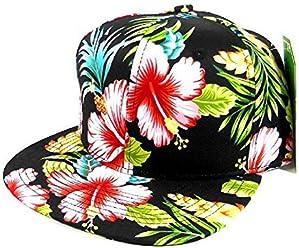 fd268df67 All Over Hawaiian Print Snapback Hat Cap Flat Bill Floral Black #2