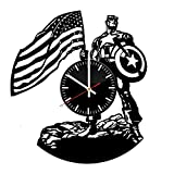 Welcome Everyday Arts Captain America Design Vinyl Record Wall Clock - Get unique living room wall decor - Gift ideas for boys, girls and friends – Marvel Comics Character Unique Modern Art