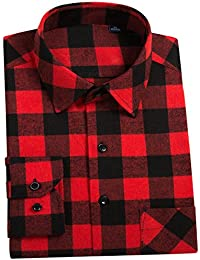 Men's Button Down Buffalo Plaid Checked Long Sleeve Flannel Shirts