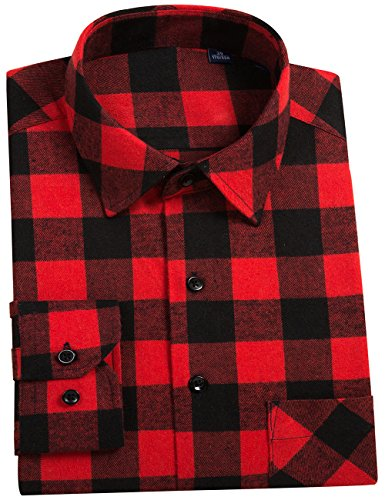 DOKKIA Men's Button Down Buffalo Plaid Checked Long Sleeve Flannel Shirts (Red Black Buffalo, Large) ()