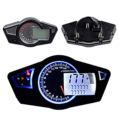 All-in-one 15000 RPM Blue LED Backlight LCD Digital Signal Motorcycle Odometer Speedometer Tachometer