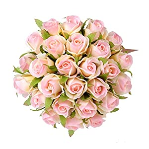 Easin Artificial Bridal Bouquets Wedding Rose 26heads Bouquet Ivory for Room Home Hotel Party Event Decoration 57