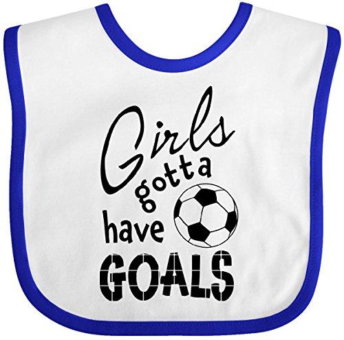 Inktastic - Girls Gotta Have Goals- soccer Baby Bib White/Royal 2c19e