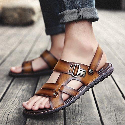 Xing Lin Sandalias De Hombre Sandalias De Hombres Jóvenes Juvenil De Nueva Inglaterra De Cuero Premium Sandalias Casuales Hombres Sandalias Khaki