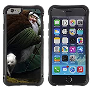 Hybrid Anti-Shock Defend Case for Apple iPhone 6 4.7 Inch / Old Wizard & Wolf art