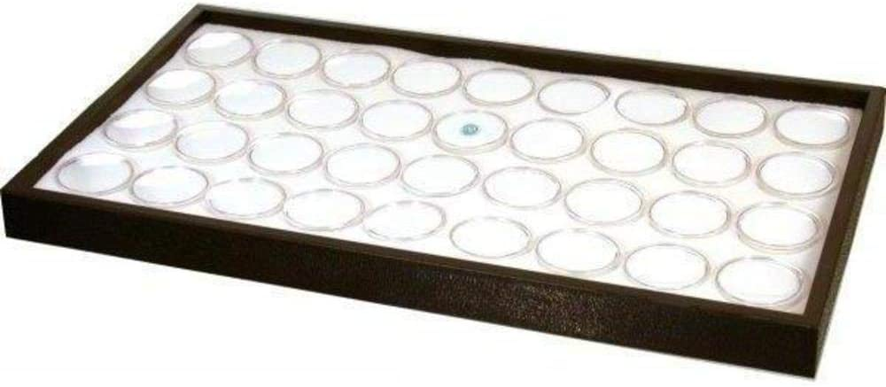 FindingKing 36 White Foam Gem Jars Travel Case Display Tray Insert