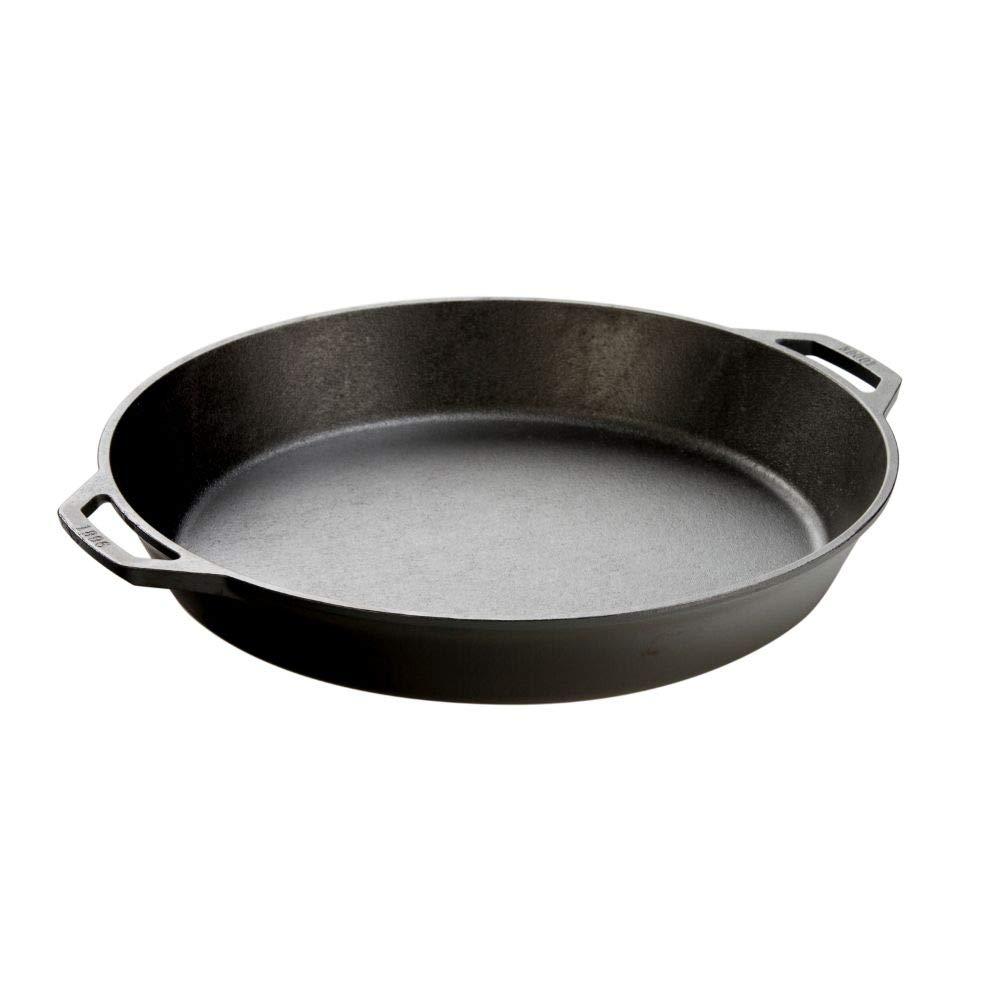 Lodge Seasoned Cast Iron Skillet with 2 Loop Handles - 17 Inch Ergonomic Frying Pan