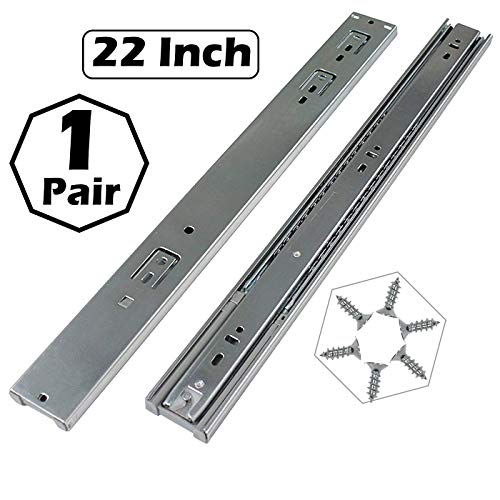 Gobrico 22-Inch Heavy Duty 100 Lb. Full Extension Ball Bearing Drawer Slides Soft Close Rail Runners 1Pair (Bearing Extension Full Ball Slides)