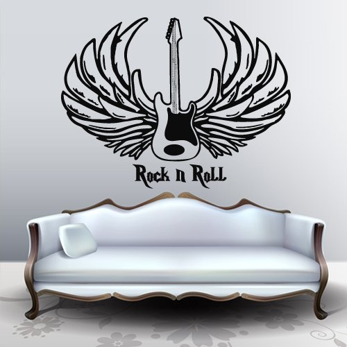 Wall Decal Art Decor Decals Sticker Music Guitar Rock N Roll Wings Blues Jazz Note Cassette Audio Tools (M839) - Guitar With Wings