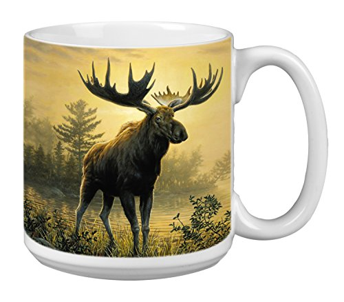 Moose Extra Large Mug, 20-Ounce Jumbo Ceramic Coffee Mug Cup, Wildlife Themed Art - Gift for Coffee Lovers (XM29522) Tree-Free Greetings
