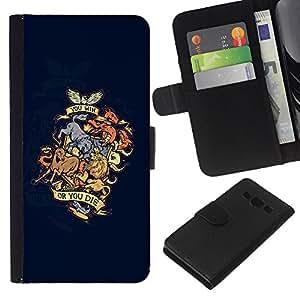 KLONGSHOP // Tirón de la caja Cartera de cuero con ranuras para tarjetas - Ganas o mueres Dragón Animal Crest - Samsung Galaxy A3 //