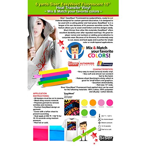 """GERCUTTER Store - 6 Yards Heat Transfer Vinyl Siser EasyWeed Fluorescent 15"""" Cricut Die cut CraftROBO on Cotton or Polyester mesh and Poly-blend fabrics (Mix & Match 2 Yards Per Color Minimum)"""