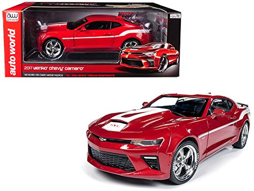 Auto World 2017 Chevrolet Camaro Yenko Coupe Red with White Stripes Limited Edition to 1002 Pieces Worldwide 1/18 Diecast Model Car AW246