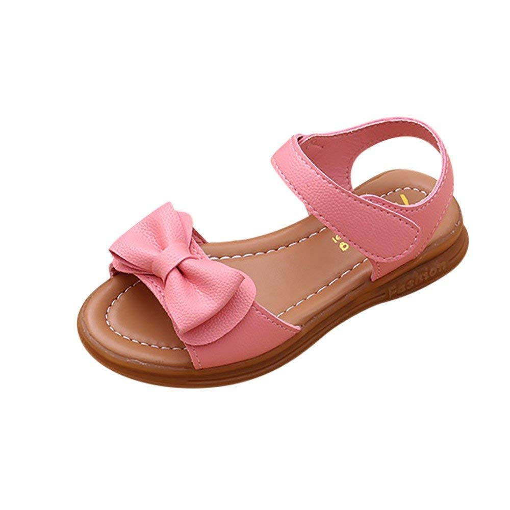 Voberry Girl's Leather Strap Bowknot Princess Open Toe Sandals(Toddler/Little Kid/Big Kid)