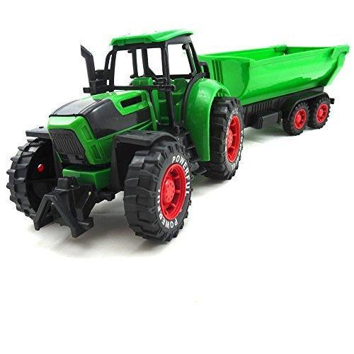 Large Size Farm Tractor With Trailer Durable Plastic Toy (Plastic Tractor)