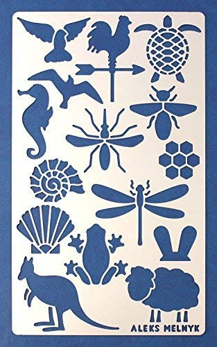 Aleks Melnyk #9 Metal Journal Stencil/Animals/Stainless Steel Stencil 1 PCS/Template Tool for Wood Burning, Pyrography and Engraving/Scrapbooking/Crafting/DIY