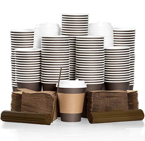 100 Pack - 12 oz To Go Coffee Cups with Sleeves, Lids & Stirrers - Disposable & Recyclable Brown Paper Travel Coffee Cups -