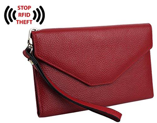 Women Slim Passport Card Holder Wallet (Red) - 6