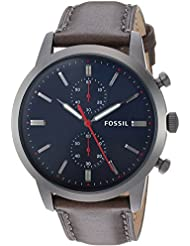 Fossil Mens 44mm Townsman Quartz Stainless Steel and Leather Casual Watch, Color Grey (Model: FS5378)