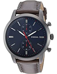 Men's '44mm Townsman' Quartz Stainless Steel and Leather Casual Watch, Color:Grey (Model: FS5378)