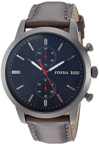 Fossil Men's '44mm Townsman' Quartz Stainless Steel and Leather Casual Watch, Color:Grey (Model: FS5378) by Fossil