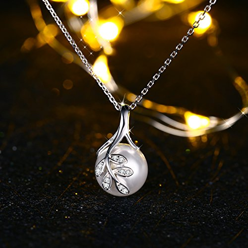 J.Rosée The Tree of Love Fashion 925 Sterling Silver 10mm White Simulated Shell Pearl Pendant Necklace Jewelry Gifts by J.Rosée (Image #3)