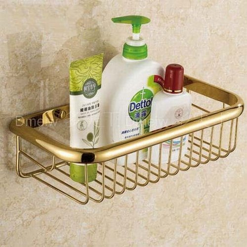 Greenspring Solid Brass Products Wall Mounted Rectangle Shower Wire Basket Shower  Soap Caddy Cosmetic Holder Toilet