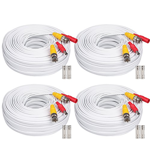 WildHD 4x200ft BNC Cable All-in-One Siamese Video and Power Security Camera Cable Extension Wire Cord with 2 Female Connetors for All HD CCTV DVR Surveillance System (200ft 4pack Cable, White) Bnc Siamese Cable