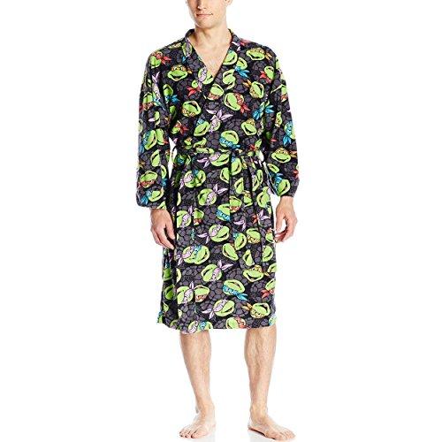 TMNT Teenage Mutant Ninja Turtles Mens Fleece Bathrobe Robe (One Size, TMNT Grey) - Adult Turtle