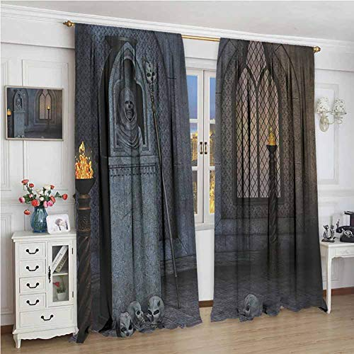 Gothic Decor Collection Premium Blackout Curtains Gothic Scenery Mystical Spooky Moonlight Darkness Skulls Ghost Story Art Kindergarten Noise Reduction Curtains W108 x L96 Inch Grey Sepia
