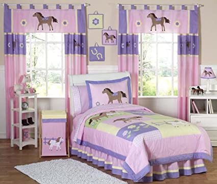 Sweet Jojo Designs 4 Piece Pretty Pony Horse Childrenu0027s Bedding Girls Twin  Set