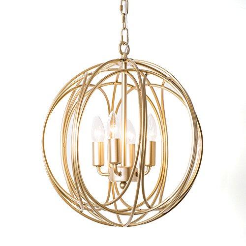 Lovedima Modern Chic Gold Sphere 3 Lights/4 Lights Iron Orb Chain Suspended Chandelier Pendant Light (4-Light)
