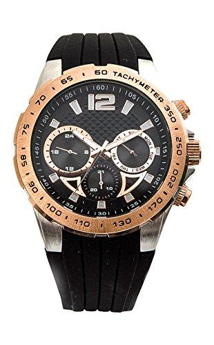 Reloj para caballero Aresso Sport con esfera negra en acero y acero rosa y correa de caucho negro. Resistente al Agua 3ATM (Salpicaduras, lluvia).