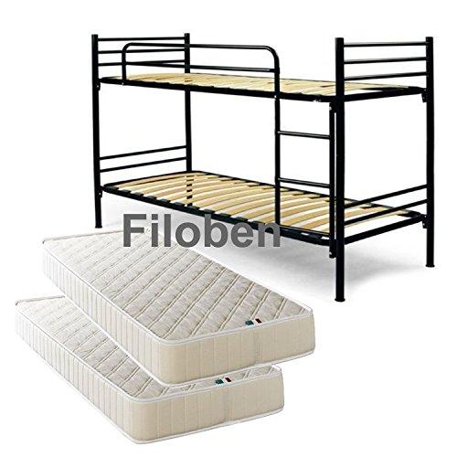 Filoben Stockbett mit Lattenrost und Matratzen schwarz