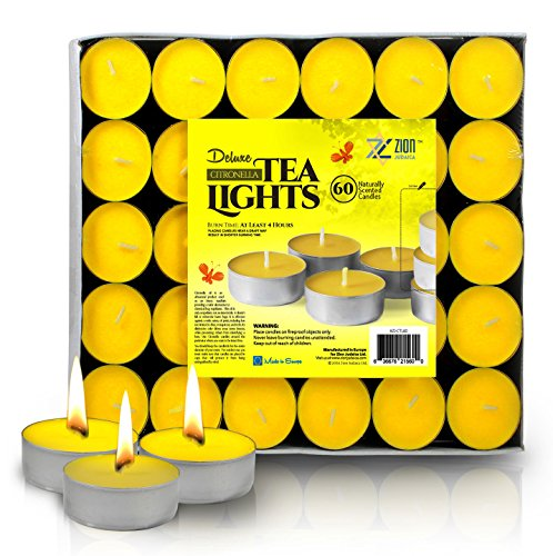 Zion Judaica Citronella Scented Tealight Candles Repellent for Mosquitos and Insects Indoor and Outdoor Use – Bulk Pack of 60 Bright Yellow Quality European Import ()