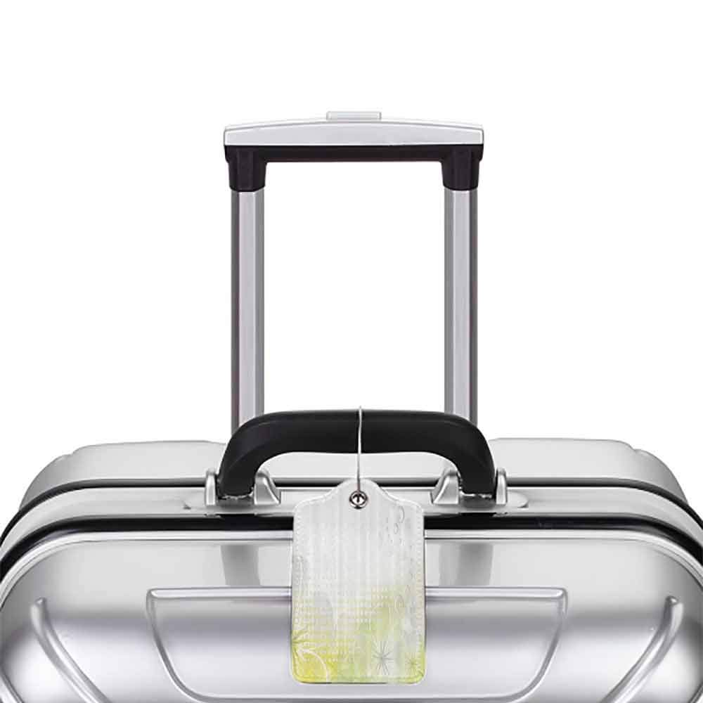 Multicolor luggage tag Grey and Yellow Abstract Grunge Design Water Bubbles and Flowers Image Hanging on the suitcase Light Grey and Light Yellow W2.7 x L4.6