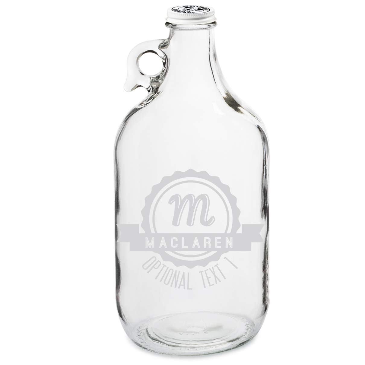 Personalized Etched Monogram 64oz Clear Glass Growler (Design 1)