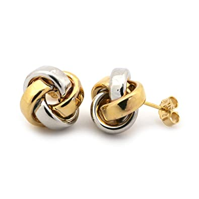 9766ffab53fd4 Amazon.com: 14k White and Yellow Gold Large Two-Tone Love Knot ...