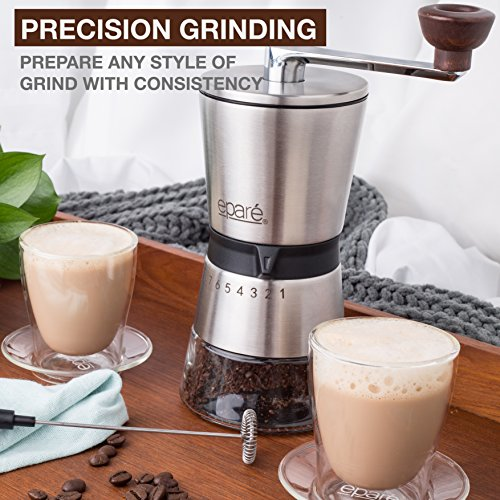 Eparé Manual Coffee Grinder – Conical Ceramic Burr – Portable Hand Crank Mill- 15 Adjustable Settings - Stainless Steel by eparé (Image #5)