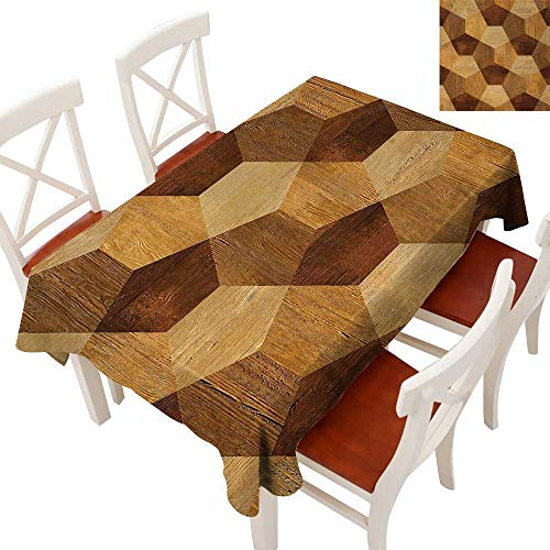 WinfreyDecor Elegance Engineered Christmas Tablecloth Patterns Tablecloths for Kitchen Abstract Parquet Flooring Wooden Rustic with Geometric Monochrome Pattern Brown Pale Brown 60
