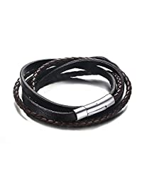 Handmade Genuine Braided Leather Triple Wrap Multi-layered Wristband Magnetic Clasp Bracelets for Men Women