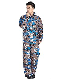 Liveinu Camouflage Rain Suit Waterproof Rain Pant Jacket with Hooded for Men Women