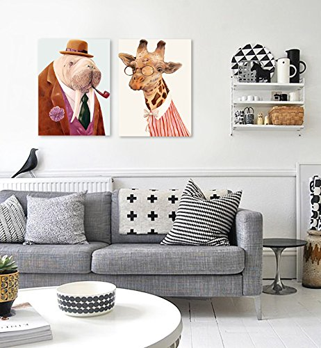 DecalMile Cartoon Animals Giraffe And Walrus Oil Painting Prints Painting On Canvas Wall Art Children'S Room Home Decoration Stretched And Framed Ready To Hang 30 X 40cm (2 Pieces)