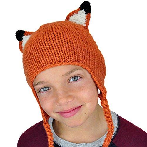 Kids Fox Beanie Hat With Ears - Cute Fun Kids Winter Boys Girls Knit Ski Youth (Girl Fun Skis)