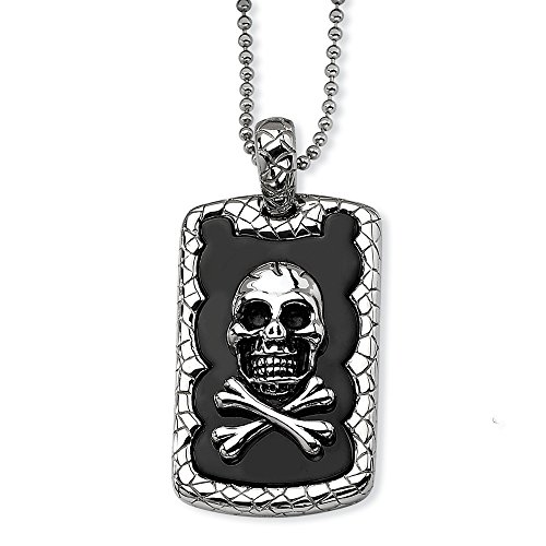 ICE CARATS Stainless Steel Skull Crossbones Black Plated Chain Necklace Pendant Charm Gothic Fashion Jewelry Gifts for Women for Her -