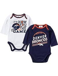 NFL Denver Broncos Girls Long Sleeve Bodysuit (2 Pack), 3-6 Months, Navy/White