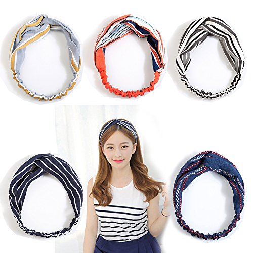 Tidalle Womens Headbands Adult Elastic Forehead Hair Scrunchies Stripe Cloth Head Accessories (Red Striped Headband)