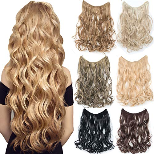 EMERLY Hidden Invisible Secret Wire for Hair Extensions 20inch One-Piece Crown Flip in Hair Extensions No Clips No Tapes Hairpieces Attached Elastic Fish Line Headband Extension Hair Piece