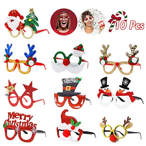 ATDAWN 10 Pack Christmas Party Fancy Glasses Frame Christmas Decoration Costume Eyeglasses Happy New Year Celebration Costume Party Supplies